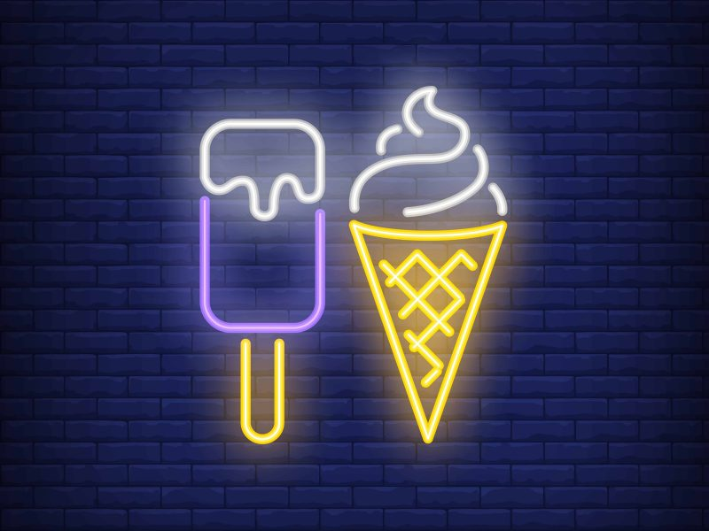 Ice-cream bar and cone neon sign. Dessert, cafe and food concept. Advertisement design. Night bright colorful billboard, light banner. Vector illustration in neon style.